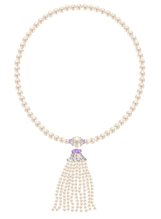Pearl necklace with a pendant of pearl strands Illustration