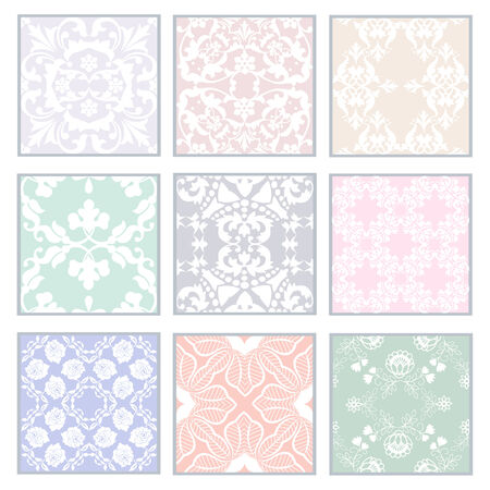handwork: Big collection of floral lacy patterns. Lace seamless patterns with flowers on pastel background