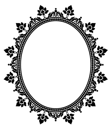 Elegant black lace frame on a white background Çizim