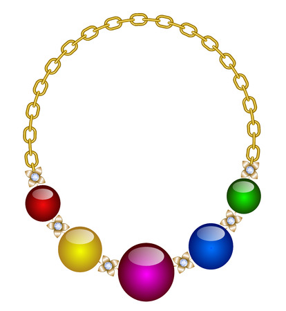Necklace of multi-colored stones on a gold chain