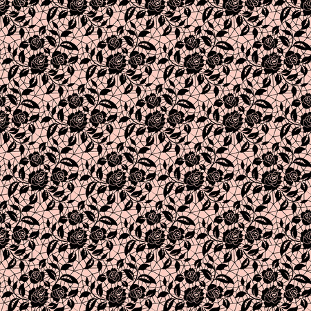 Seamless black floral lace on a pink background Illustration