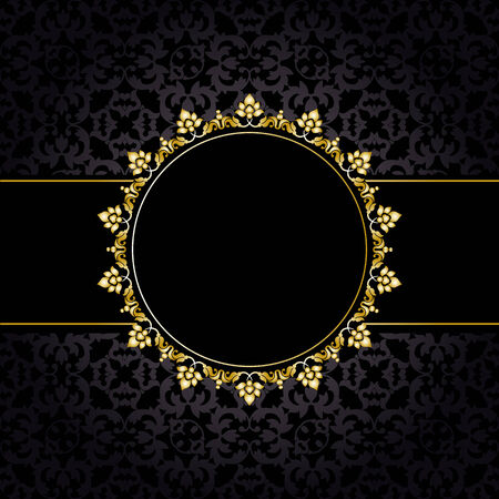 royal background: Royal pattern with golden frame on black background