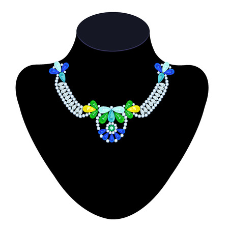 Necklace of colored stones of different shapes on a mannequin Vector
