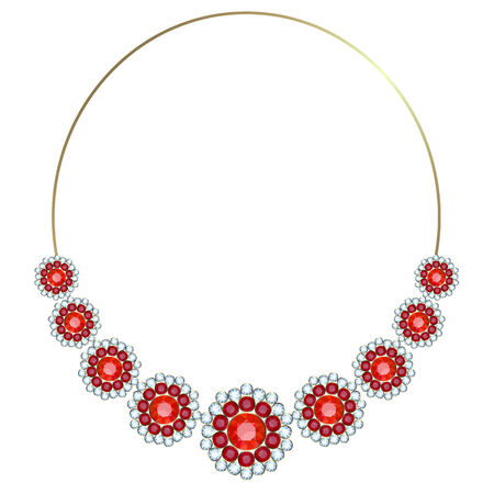Gold necklace-hoop decorated with flowers of rubies and diamonds Vector