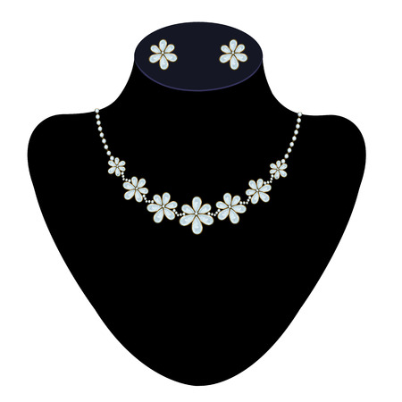 diamond earrings: Diamond necklace and earrings on a mannequin