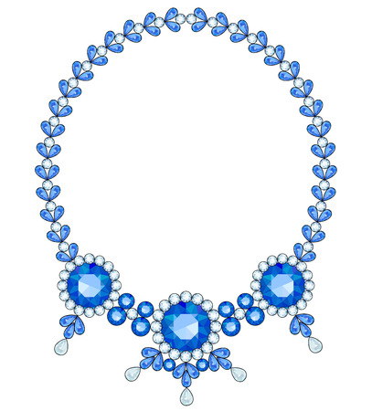 sapphires: Necklace with three large sapphires in a frame of diamonds Illustration