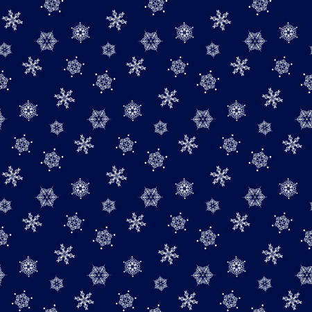 navy blue background: White seamless pattern of snowflakes on a navy blue background