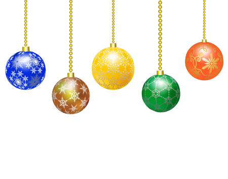 Border of multicolored Christmas balls on white background