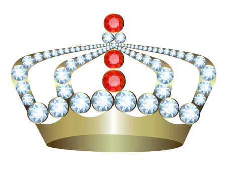 corona rey: Corona del oro con las joyas en un fondo blanco Vectores