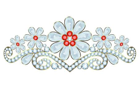 Tiara with diamonds and rubies on white background Vector
