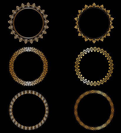 baroque frame: Set openwork gold frames on black background
