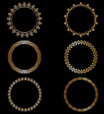 Set openwork gold frames on black background