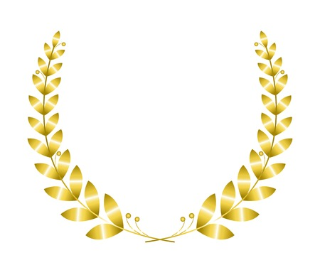 Gold laurel wreath isolated on white background