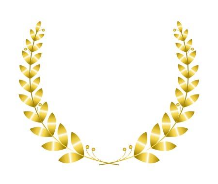 Gouden lauwerkrans geïsoleerd op witte achtergrond Stockfoto - 33702326