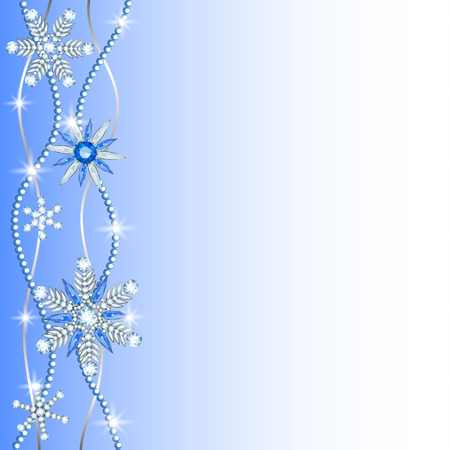 Diamond snowflakes border on blue and white background