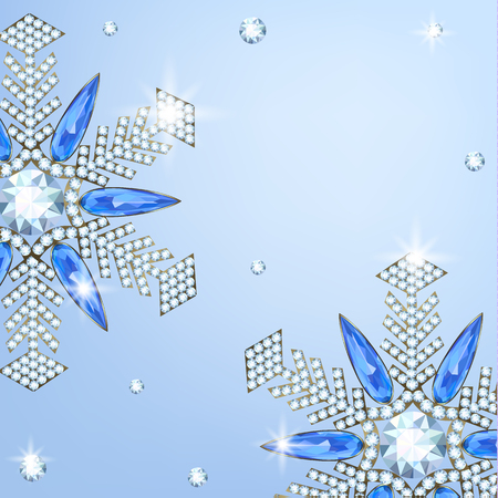 Diamond and sappfire snowflakes on blue background