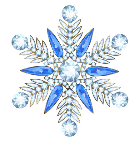 Jewelry with diamonds and sappfire in form of snowflakes for Christmas design Illustration