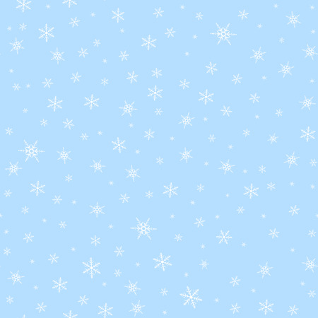 Seamless blue background with white snowflakes pattern