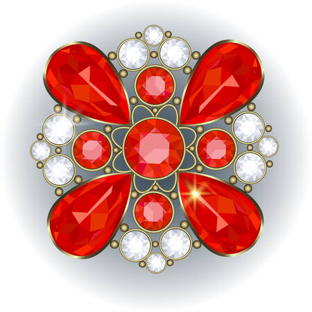 brooch: Luxury golden brooch with precious stones vector