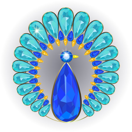 brooch: Brooch of precious stones in the form of a stylized peacock