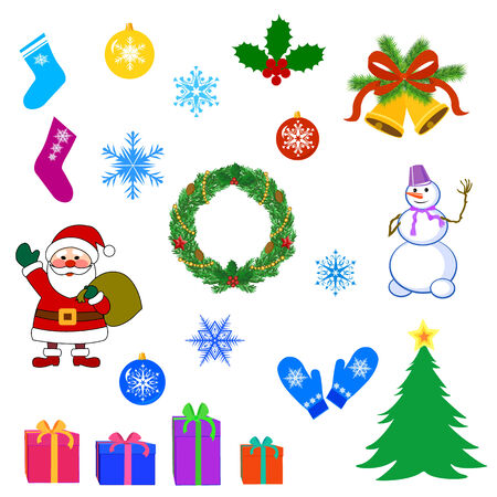 Merry christmas set of icons and elements vector