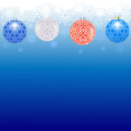 Border of snowflakes and balls on a blue background