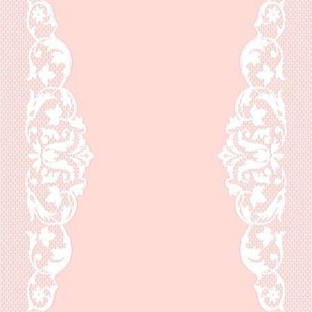 Pink background with white lace pattern border