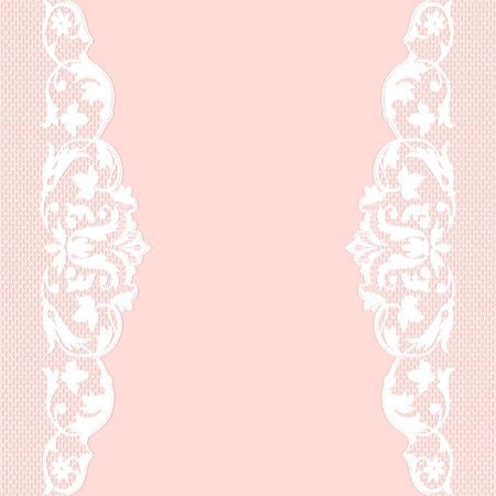 Roze achtergrond met witte kant patroongrens Stock Illustratie