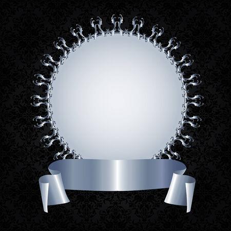 silver frame: Silver frame and ribbon on a black background Illustration