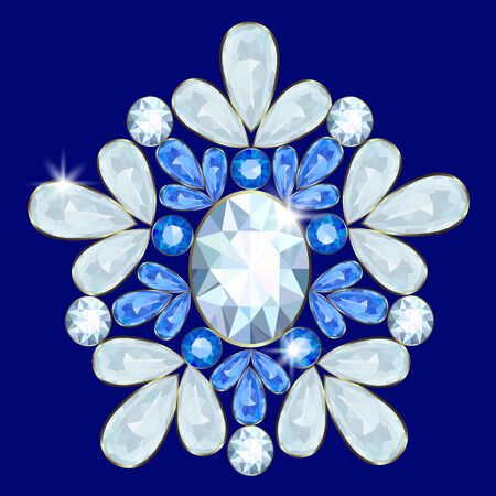 Brooch with diamonds and sapphires on a blue background