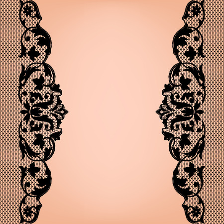 lace pattern: Black lace borders on a beige background Illustration
