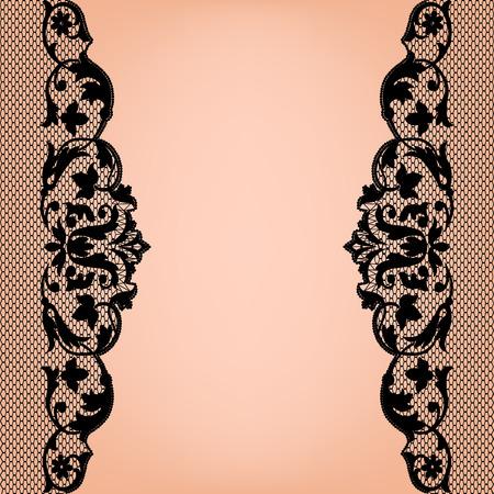 Black lace borders on a beige background Illustration
