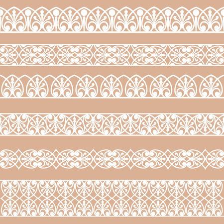 beige background: Set of white borders isolated on a beige background Illustration