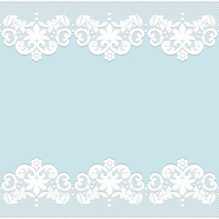 Modello per matrimonio, invito o biglietto di auguri con bordo in pizzo bianco Archivio Fotografico - 35094872