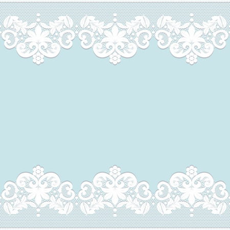 Template for wedding, invitation or greeting card with white lace border