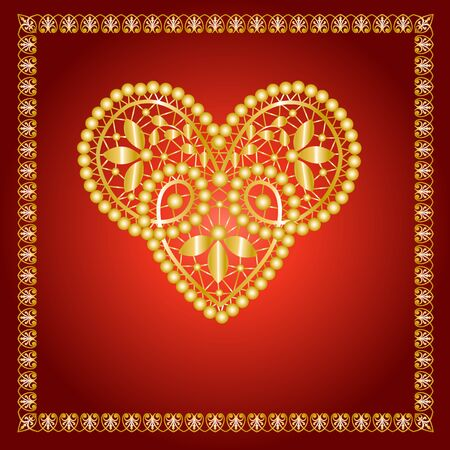 gold lace: Gold lace heart on a red background in a golden frame Illustration