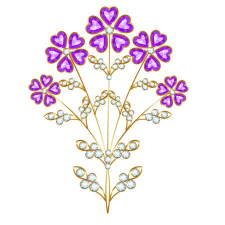 amethyst: Brooch in the form of a bouquet of amethyst and diamonds Illustration