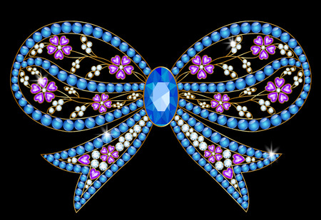 brooch: Brooch with blue stones in the form of a bow