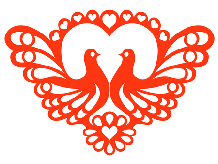Stylized doves on the background of openwork heart Vector