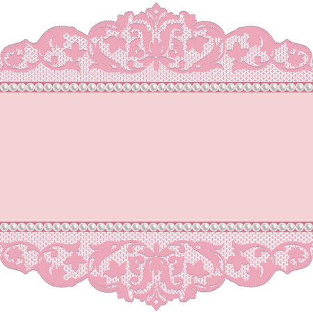 Pink lace borders with pearls on a white background