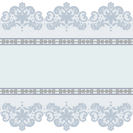 Gray lace borders with pearls on a white background