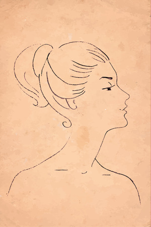 seductive: Retro drawing of a womans head in profile Illustration