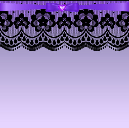 lace border: Black lace border with a purple ribbon and bow