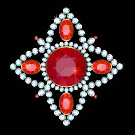 brooch: Golden brooch with diamonds and rubies on a black background