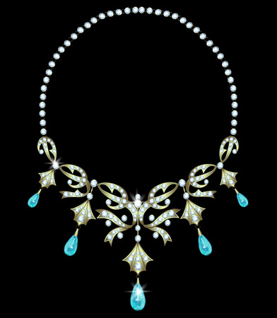 gold necklace: Gold necklace with diamonds and aquamarine teardrop shape