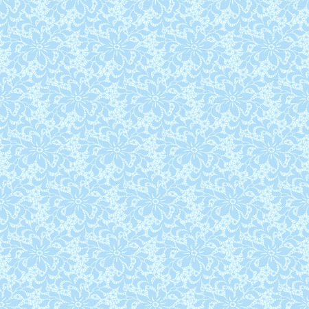 Seamless blue lace with floral pattern vector