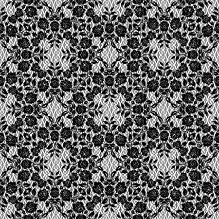 Seamless black lace with floral pattern on a white background Illustration