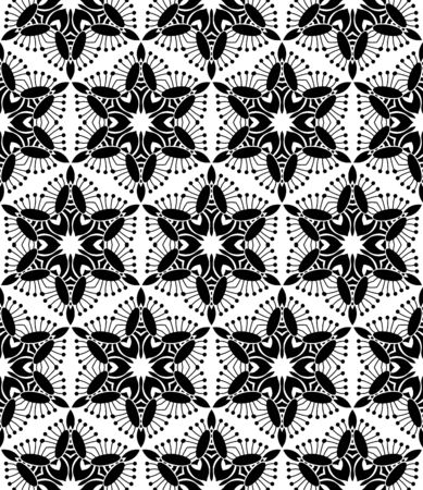 Black floral pattern on a white background