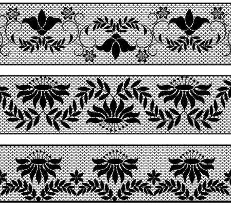 border line: Set of black floral lace borders on white background Illustration