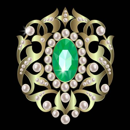 brooch: brooch with emeralds and pearls in a gold ornate framed